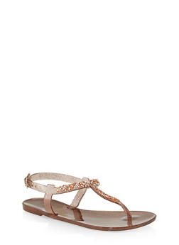 Girls 12-4 Rhinestone Encrusted Jelly Thong Sandals - 1737062720151