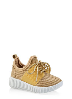 Girls 6-11 Shimmer Knit Lace Up Sneakers - 1737062720159