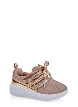 Girls 6-11 Shimmer Knit Lace Up Sneakers | 1737062720164 - 1737062720164