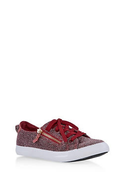 Girls 12-4 Side Zip Glitter Knit Sneakers - 1737062720165