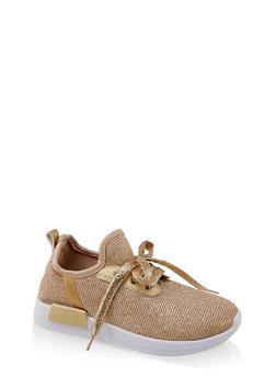Girls 12-4 Glitter Mesh Athletic Sneaker - 1737062720167