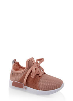 Girls 12-4 Knit Lace Up Athletic Sneakers - 1737062720169