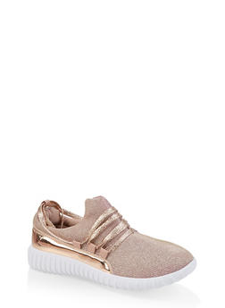 Girls 12-4 Lace Up Glitter Knit Sneakers - 1737062720170
