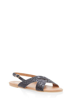Girls 12-4 Glitter Criss Cross Sandals - 1737064790001