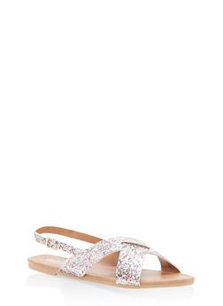 Girls 12-4 Glitter Criss Cross Sandals - 1737064790001