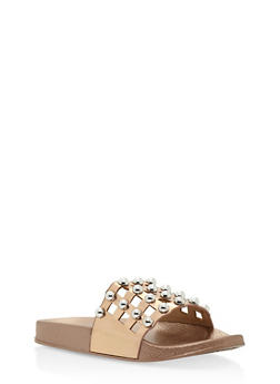 Girls 1-4 Studded Laser Cut Slides - 1737064790007