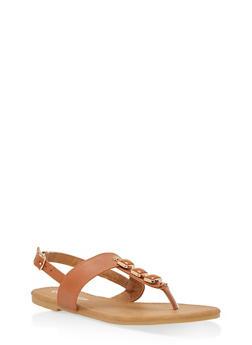 Girls 11-4 Studded T Strap Sandals - 1737064790021