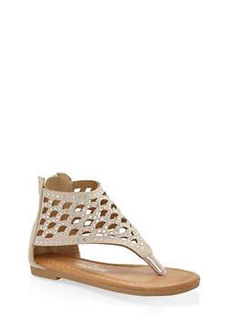Girls 5-10 Rhinestone Laser Cut Sandals - 1737064790028