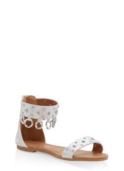 Girls 11-4 Studded Metallic Link Sandals - 1737064790039