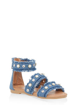 Girls 5-10 Studded Frayed Denim Sandals - 1737064790043
