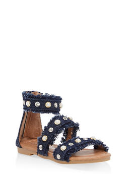 Girls 5-10 Studded Frayed Denim Sandals - 1737064790043