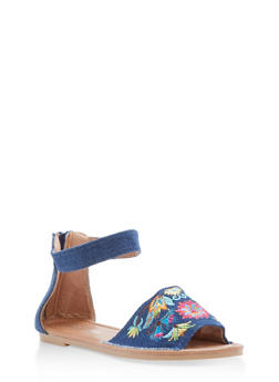Girls 11-4 Denim Embroidered Ankle Strap Sandals - 1737064790045