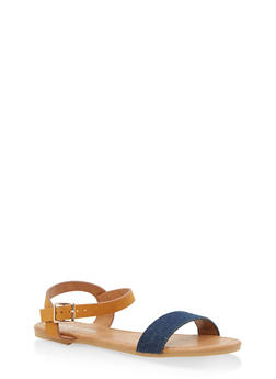 Girls 11-4 Ankle Strap Sandals - TAN S - 1737064790048