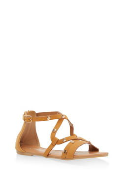 Girls 11-4 Strappy Studded Faux Leather Sandals - TAN - 1737064790062