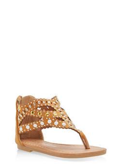Girls 6-10 Studded Thong Sandals - 1737064790065