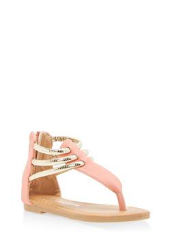 Girls 5-10 Metallic Strap Thong Sandals - 1737064790066