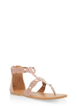 Girls 11-4 Faux Pearl Thong Sandals - MAUVE - 1737064790070
