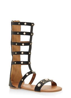 Girls 11-4 Tall Faux Pearl Studded Gladiator Sandals - 1737064790071