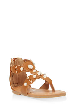 Girls 5-10 Faux Pearl Sandals - 1737064790073