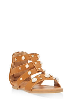 Girls 6-10 Faux Pearl Gladiator Sandals - 1737064790074