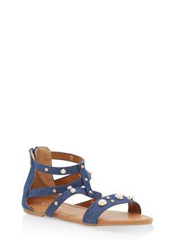 Girls 11-4 Faux Pearl Sandals - DENIM - 1737064790075