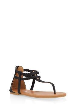 Girls 11-4 Braided Thong Sandals - 1737064790078