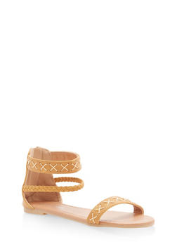 Girls 10-4 Cross Stitch Sandals - 1737064790081