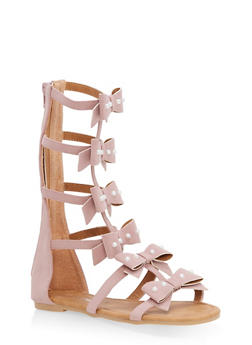 Girls 11-4 Faux Pearl Studded Gladiator Sandals - 1737064790107
