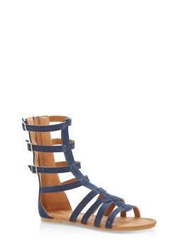 Girls 11-4 Multi Buckle Gladiator Sandals - 1737064790108