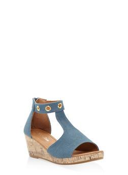 Girls 10-4 Zip Back Cork Platform Sandals - 1737064790113