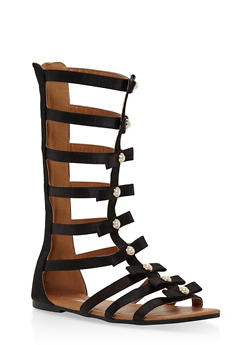 Girls 11-4 Faux Pearl Studded Gladiator Sandals - 1737064790114