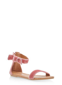 Girls 11-4 Velvet Bow Ankle Strap Sandals - 1737064790122