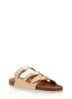 Girls 11-4 Triple Strap Footbed Sandals - 1737064790132