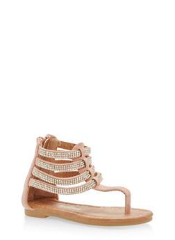 Girls 5-10 Rhinestone Ankle Strap Sandals - 1737064790134