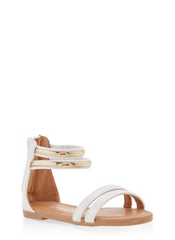 Girls 5-10 Metallic Ankle Strap Sandals - 1737064790135