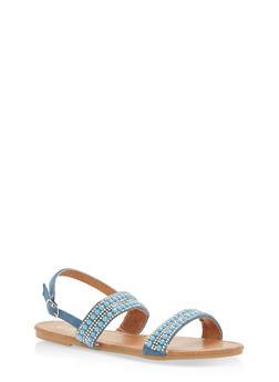 Girls 11-4 Rhinestone Studded Sling Back Sandals - 1737064790136