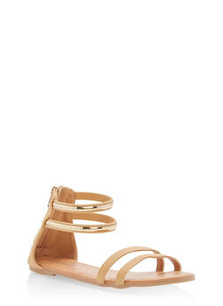 Girls 11-4 Metallic Strap Sandals - 1737064790137