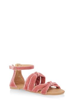 Girls 11-4 Velvet Strap Sandals - 1737064790140