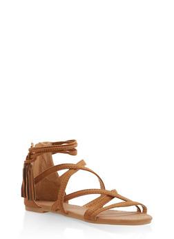 Girls 11-4 Strappy Tassel Sandals - 1737064790143