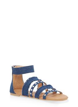 Girls 11-4 Grommet Denim Strappy Sandals - 1737064790145