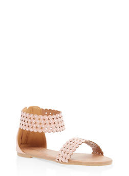 Girls 11-4 Studded Laser Cut Sandals - 1737064790149