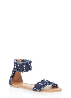 Girls 11-4 Rhinestone Studded Denim Sandals - 1737064790160
