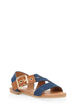 Girls 5-10 Buckle Detail Sandals - 1737064790169