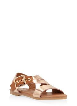 Girls 5-10 Buckle Detail Sandals - 1737064790169