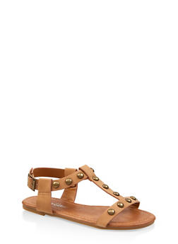 Girls 11-4 Studded T Strap Sandals | 1737064790170 - 1737064790170