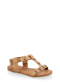 Girls 5-10 Studded T Strap Sandals - 1737064790173