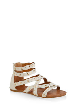 Girls 11-4 Criss Cross Studded Sandals - 1737064790176