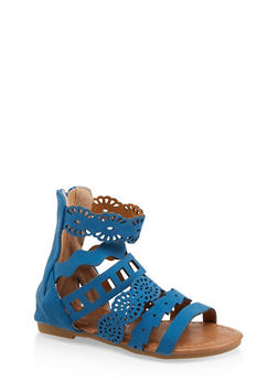 Girls 5-10 Laser Cut Strap Sandals - 1737064790178