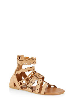Girls 11-4 Laser Cut Strap Sandals - 1737064790179