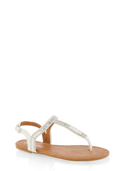 Girls 11-4 Rhinestone Thong Sandals - 1737064790182